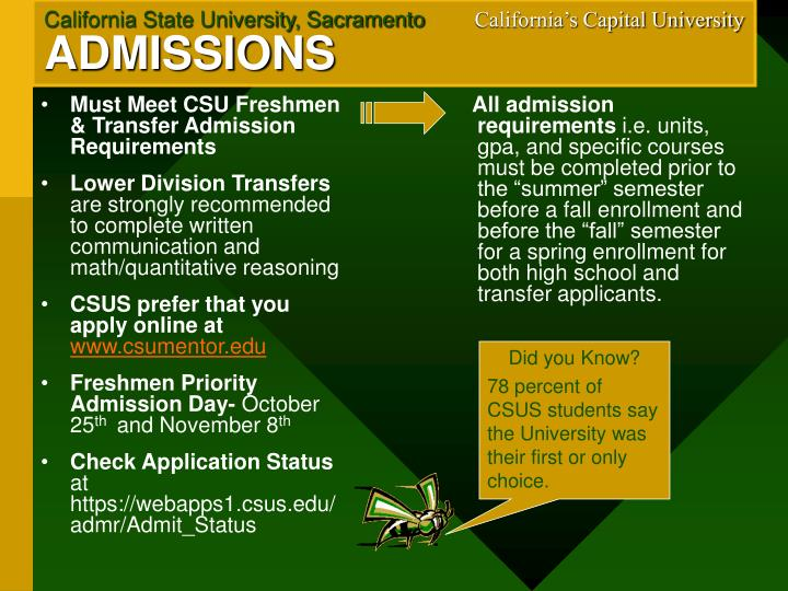 Must Meet CSU Freshmen & Transfer Admission Requirements