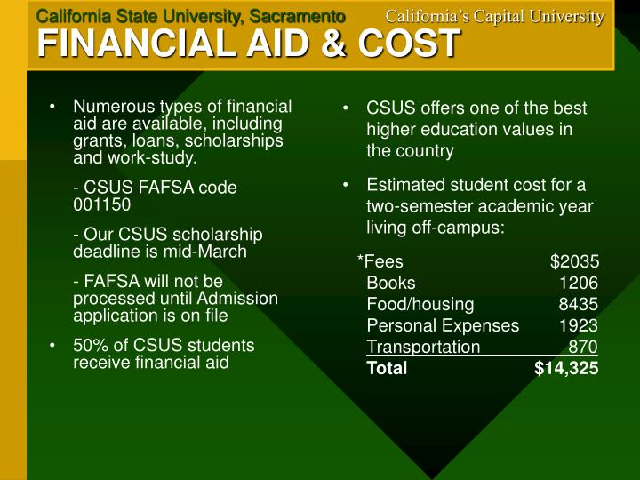 Numerous types of financial aid are available, including grants, loans, scholarships and work-study.