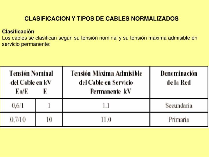 CLASIFICACION Y TIPOS DE CABLES NORMALIZADOS