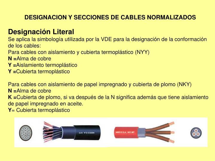 DESIGNACION Y SECCIONES DE CABLES NORMALIZADOS