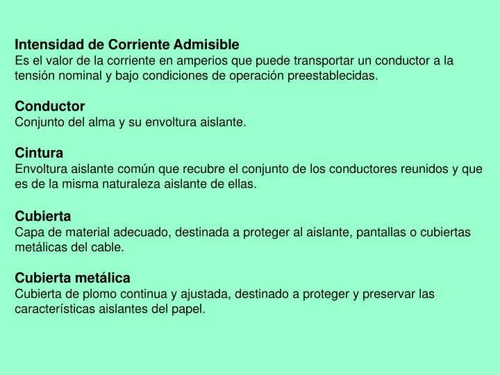 Intensidad de Corriente Admisible