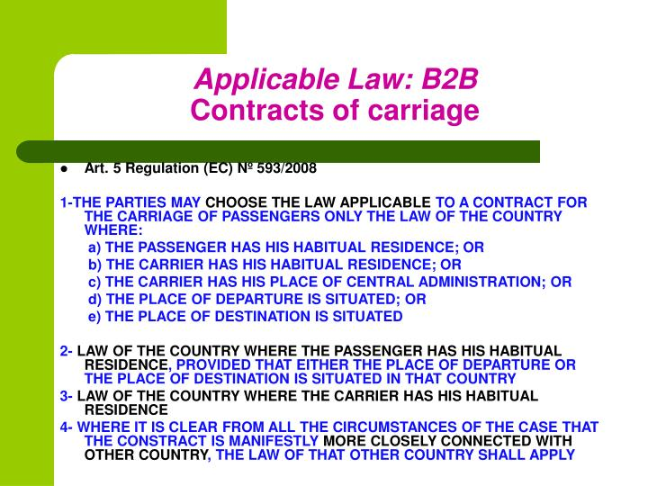 Applicable Law: B2B