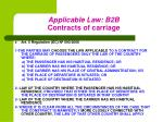 applicable law b2b contracts of carriage