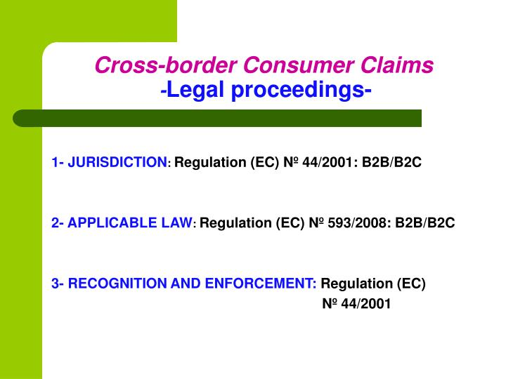 Cross-border Consumer Claims