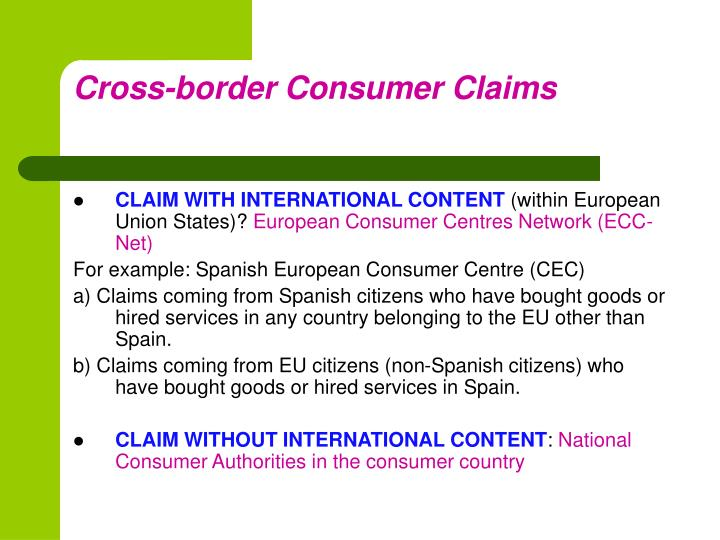 Cross border consumer claims