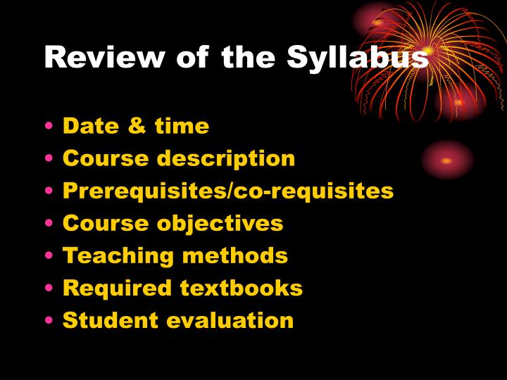 Review of the syllabus