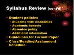 syllabus review cont d