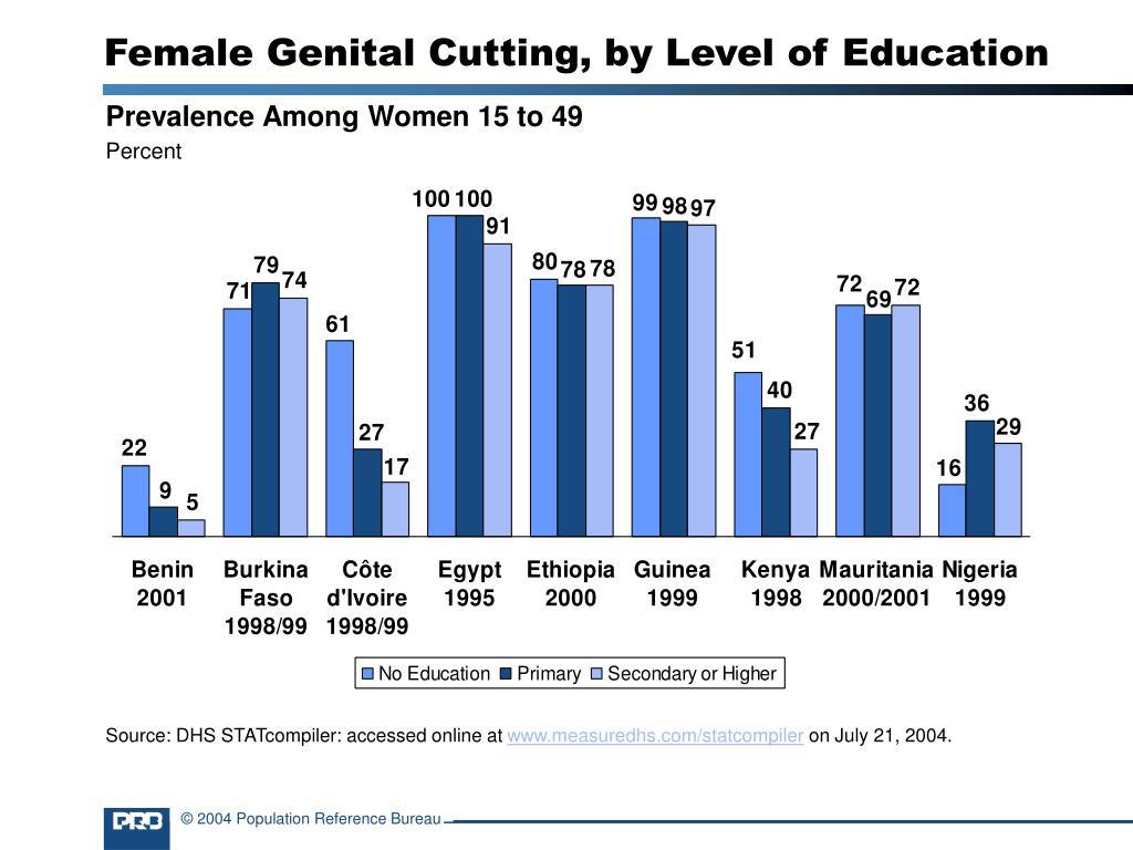 Female Genital Cutting, by Level of Education
