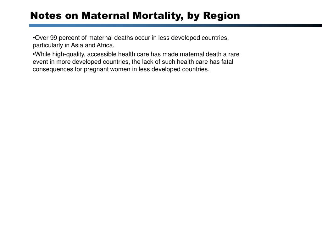 Notes on Maternal Mortality, by Region