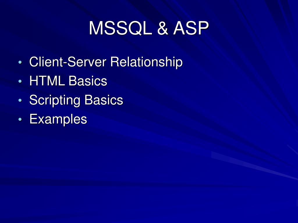 MSSQL & ASP