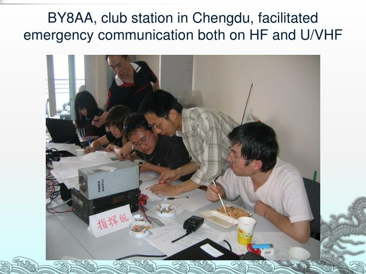 BY8AA, club station in Chengdu, facilitated emergency communication both on HF and U/VHF
