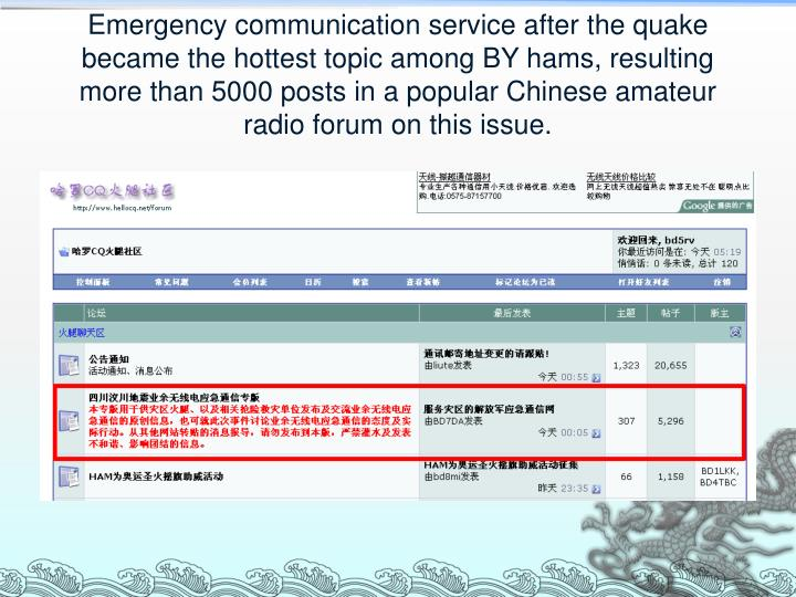Emergency communication service after the quake became the hottest topic among BY hams, resulting more than 5000 posts in a popular Chinese amateur radio forum on this issue.
