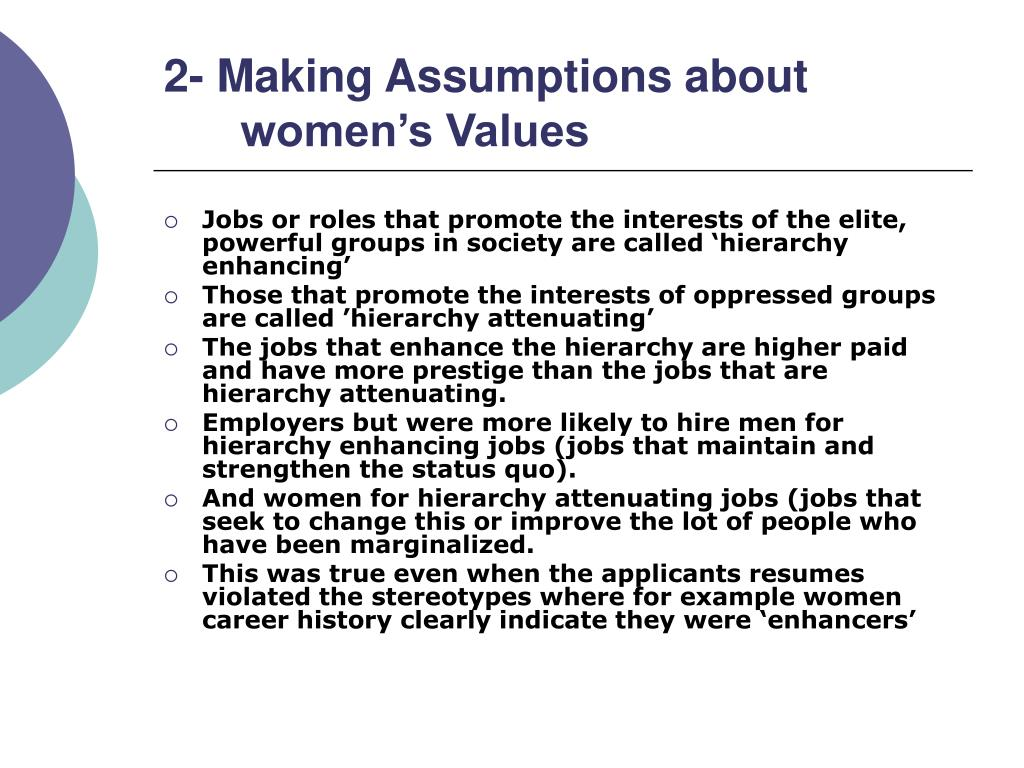 2- Making Assumptions about women's Values