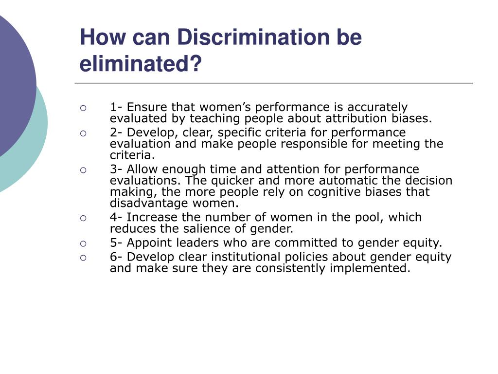 How can Discrimination be eliminated?