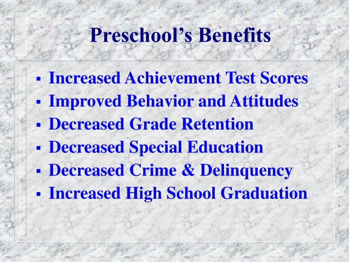 Preschool s benefits