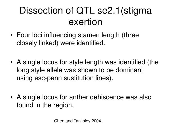 Dissection of QTL se2.1(stigma exertion