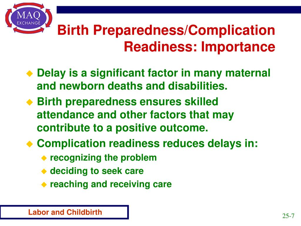 Birth Preparedness/Complication Readiness: Importance
