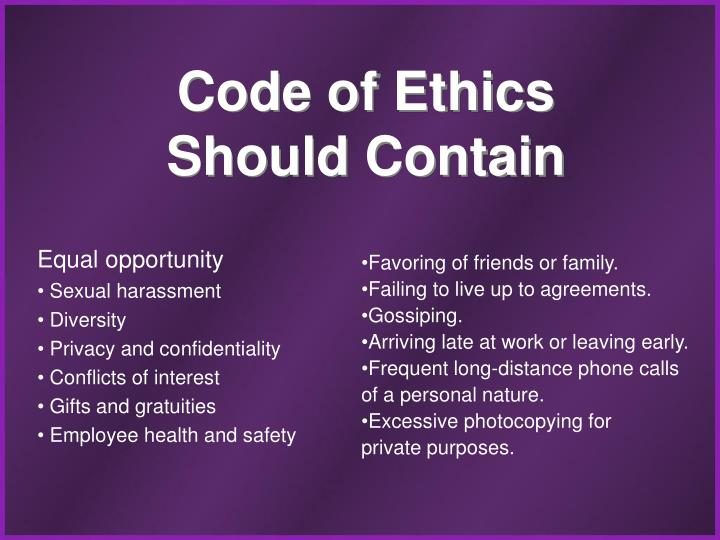 Code of Ethics Should Contain