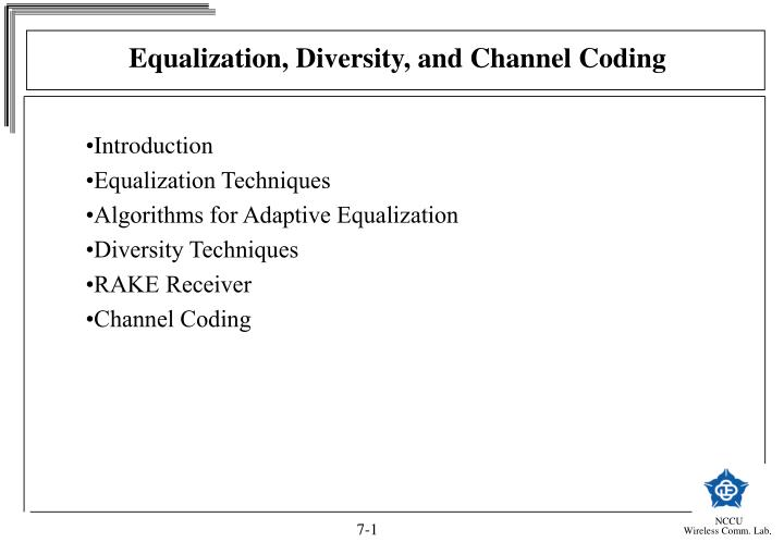 Equalization diversity and channel coding