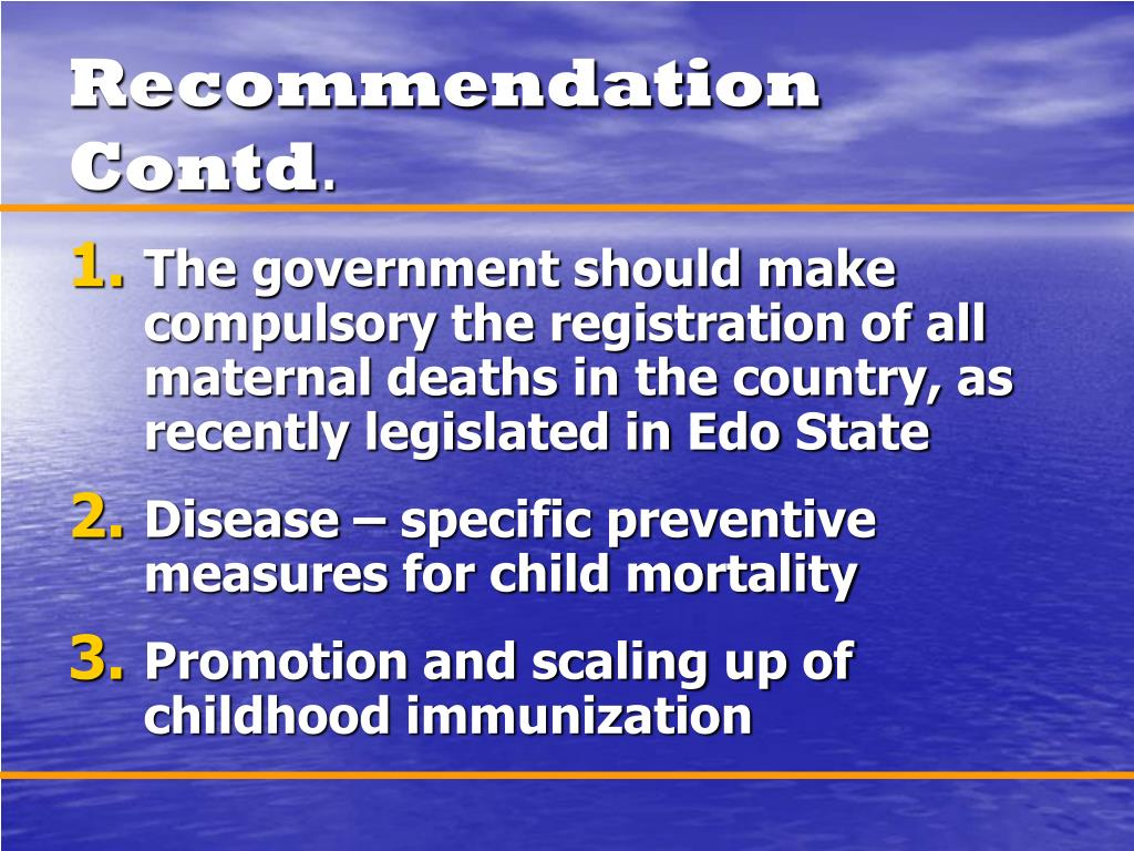 Recommendation Contd