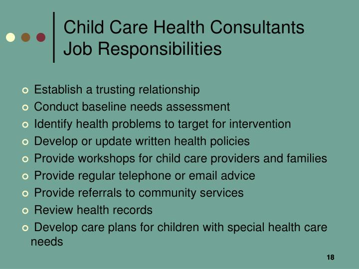 Child Care Health Consultants Job Responsibilities