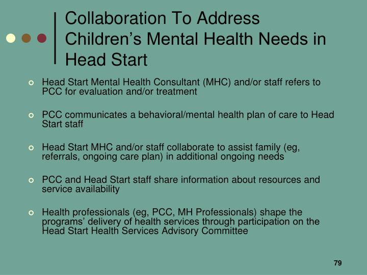 Collaboration To Address Children's Mental Health Needs in Head Start