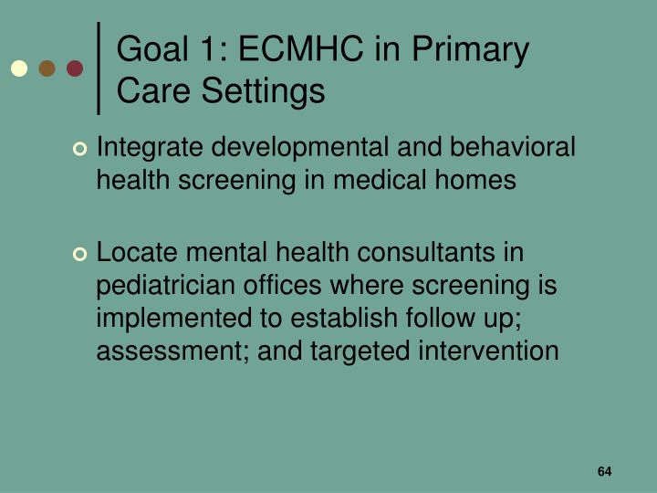 Goal 1: ECMHC in Primary Care Settings