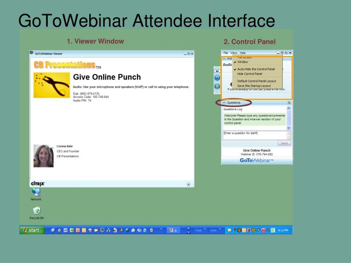 GoToWebinar Attendee Interface