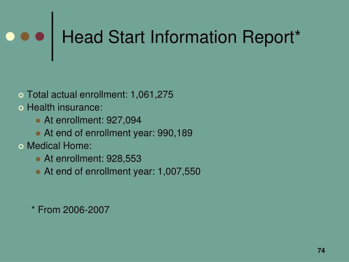 Head Start Information Report*