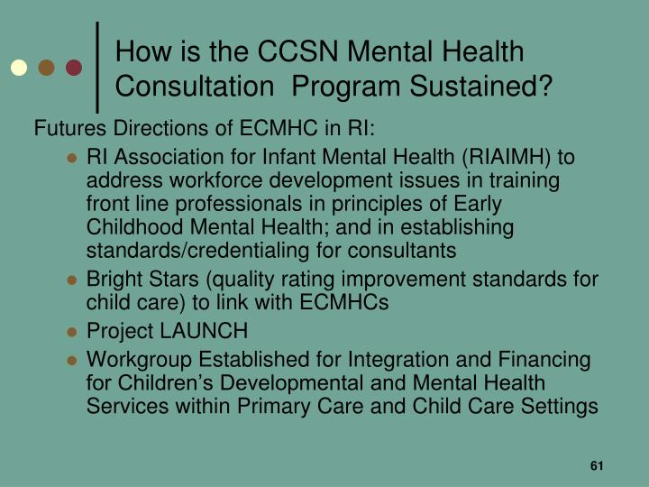 How is the CCSN Mental Health Consultation  Program Sustained?