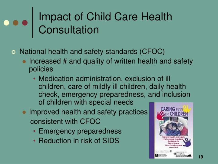 Impact of Child Care Health Consultation