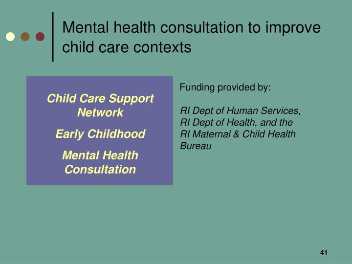 Mental health consultation to improve