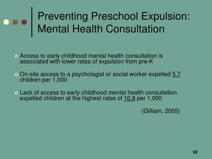 Preventing Preschool Expulsion:  Mental Health Consultation
