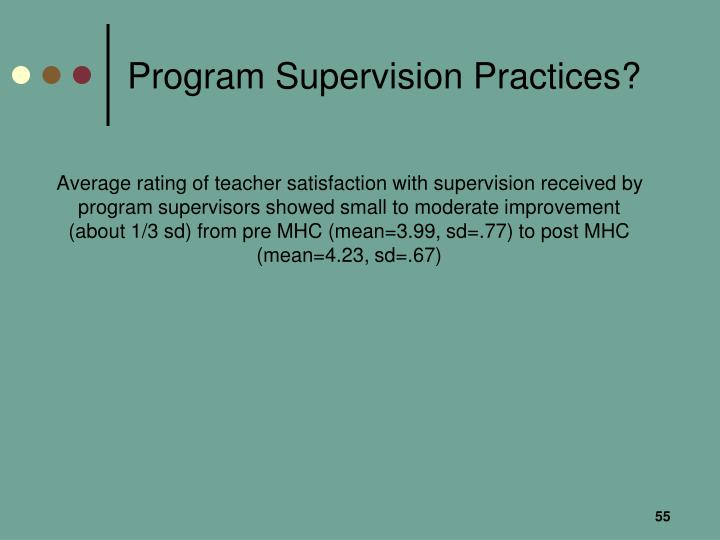 Program Supervision Practices?