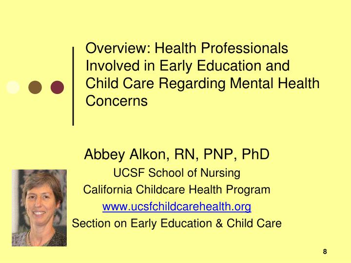 Overview: Health Professionals Involved in Early Education and Child Care Regarding Mental Health Concerns