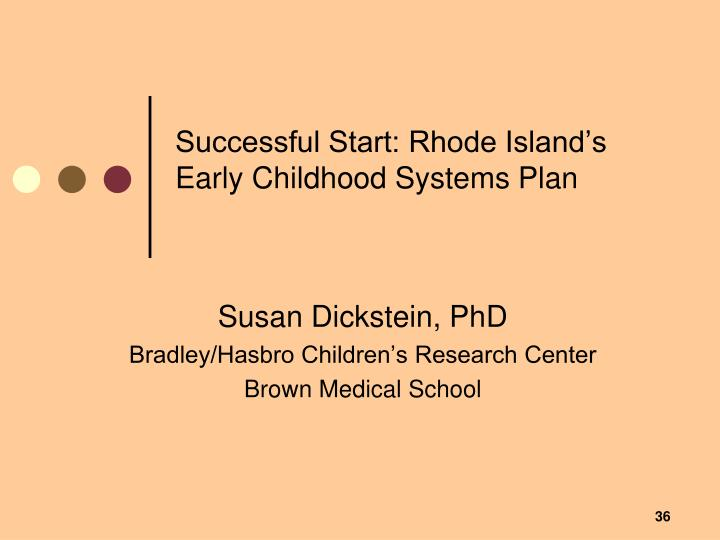 Successful Start: Rhode Island's Early Childhood Systems Plan