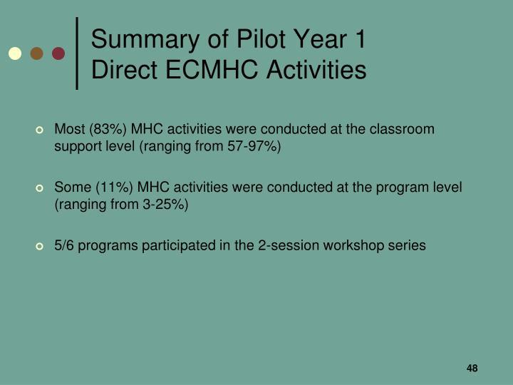 Summary of Pilot Year 1