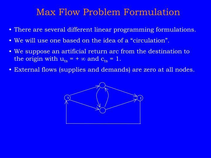 Max Flow Problem Formulation
