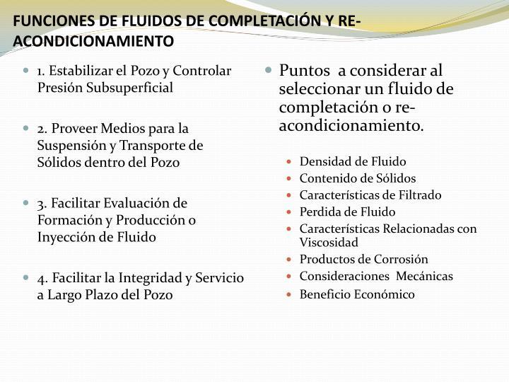 FUNCIONES DE FLUIDOS DE COMPLETACI
