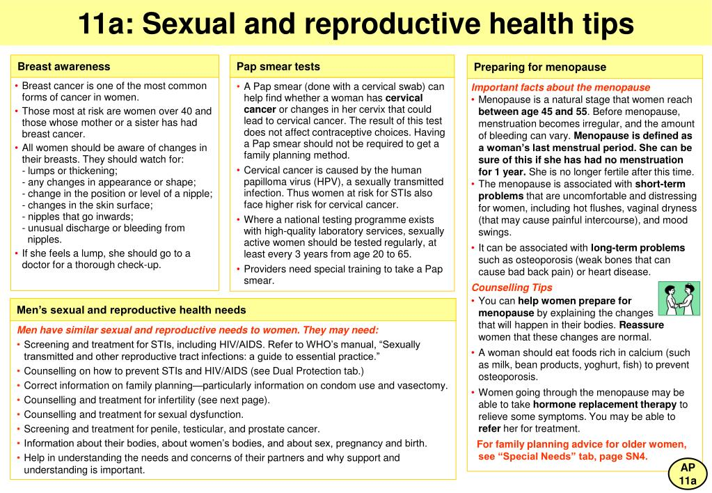 11a: Sexual and reproductive health tips