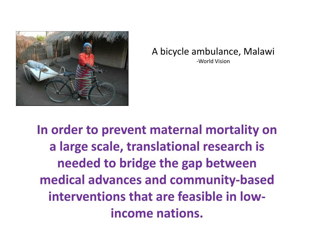 A bicycle ambulance, Malawi