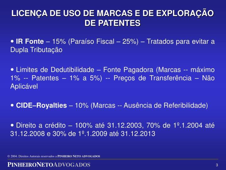 LICENÇA DE USO DE MARCAS E DE EXPLORAÇÃO DE PATENTES