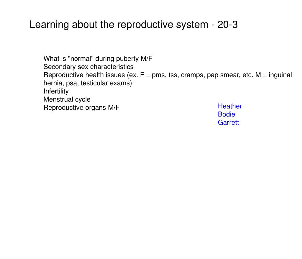 Learning about the reproductive system - 20-3