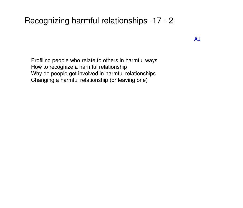 Recognizing harmful relationships -17 - 2