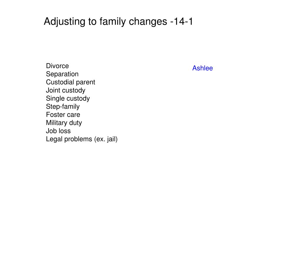 Adjusting to family changes -14-1