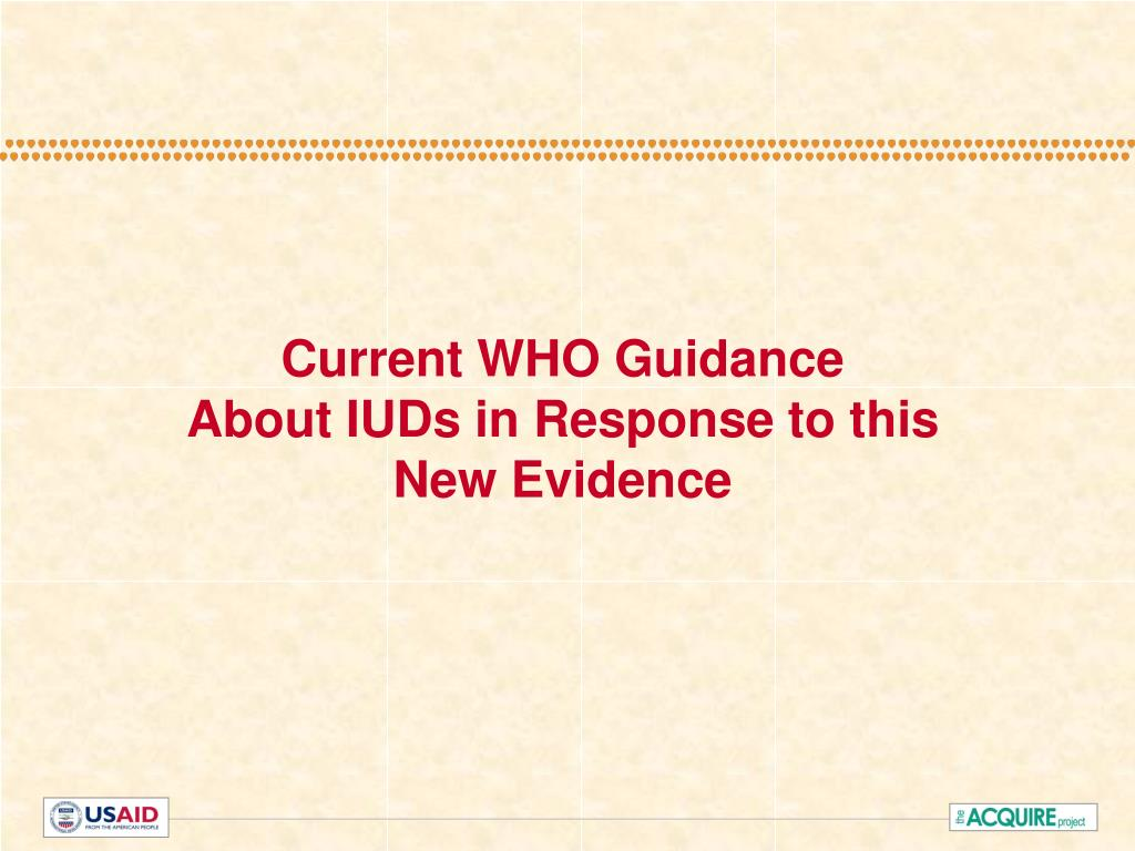 Current WHO Guidance