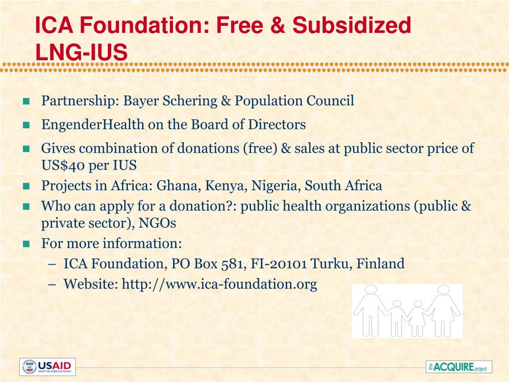 ICA Foundation: Free & Subsidized LNG-IUS