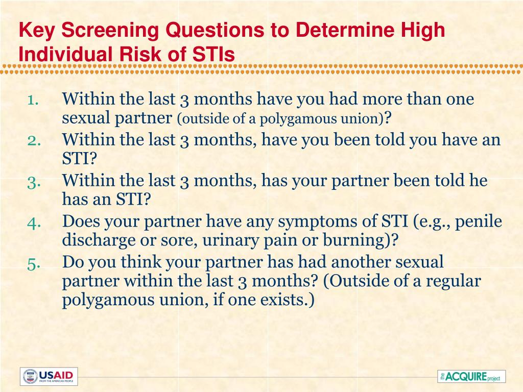 Key Screening Questions to Determine High