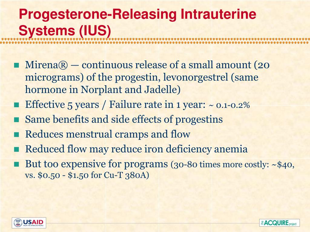 Progesterone-Releasing Intrauterine Systems (IUS)