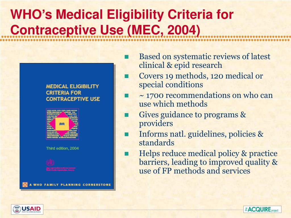 WHO's Medical Eligibility Criteria for Contraceptive Use (MEC, 2004)